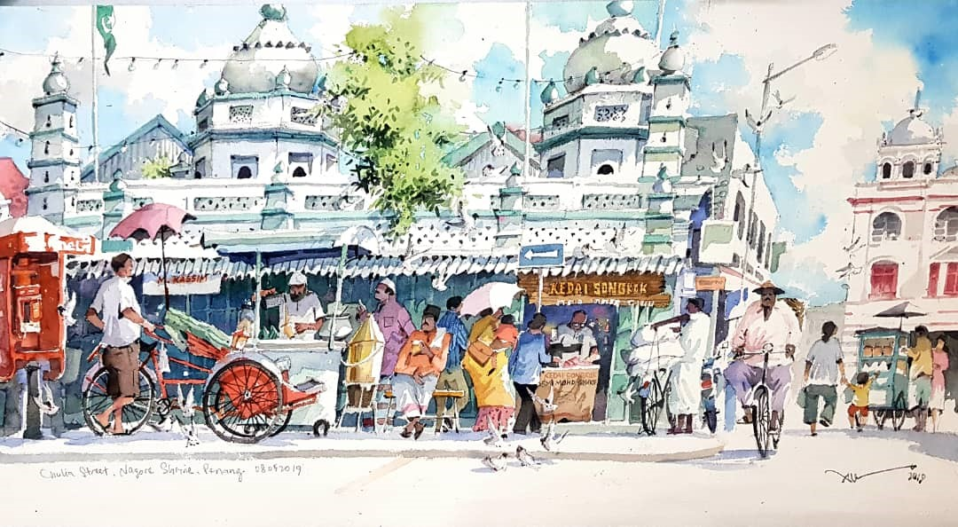 Chulia Street, Nagore Shrine, Penang, 2019, Watercolor on Paper, 37.5x74cm