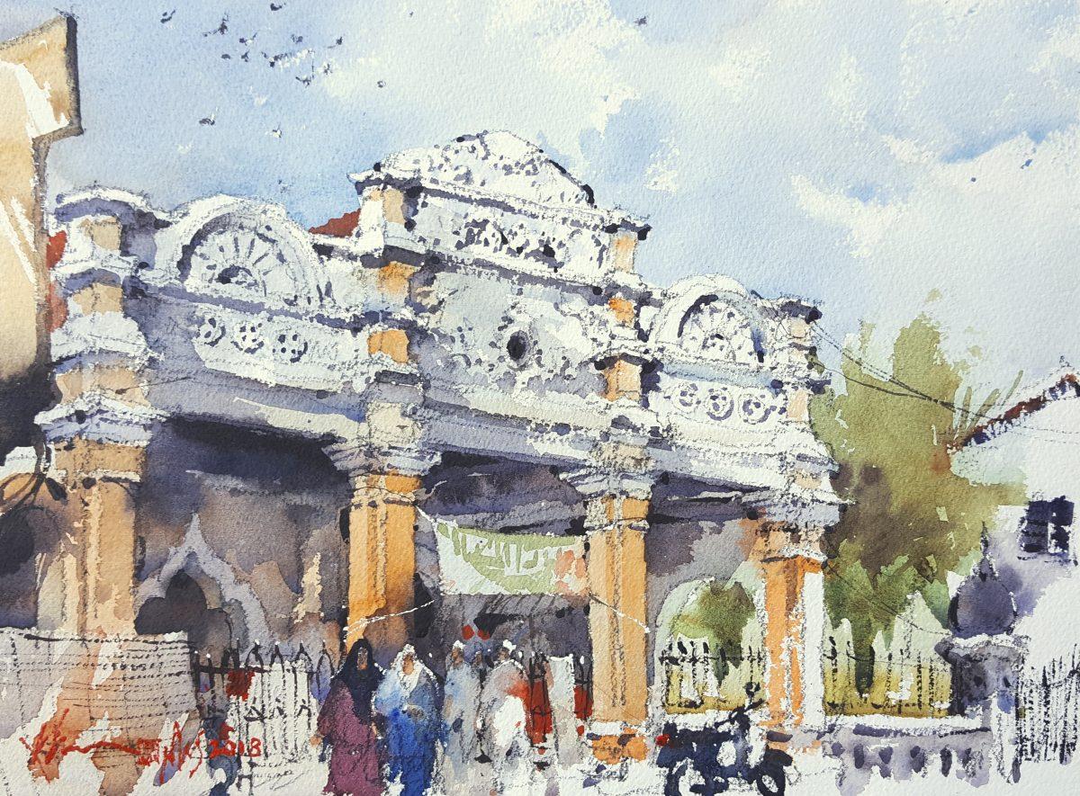 Kapitan Keling Mosque Side Entrance, 2018, 35x26cm Watercolour