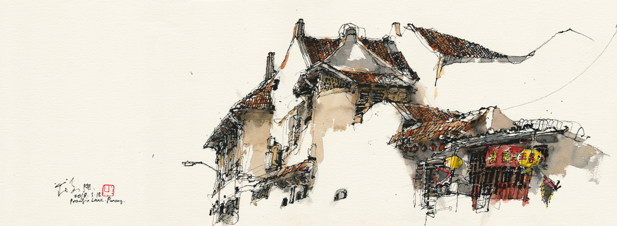 Small-Temple,-Prangin-Lane,-Penang,-2018,-Chinese-ink-&-watercolour-on-paper,-26.6-x-74