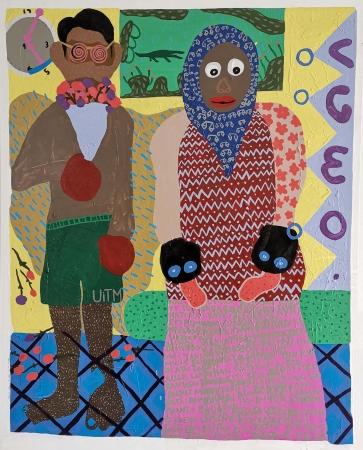 Amierul Iskandar Hamdzan, Pemuda dan Petua, 2019, Mixed Media on Canvas, 121.9x152.4cm, RM4,000.