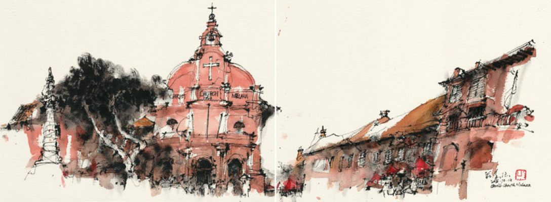 Christ Church Malacca, 2016, Chinese Ink & Watercolour On Paper, 26.6x74.3cm
