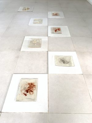 Every Day A Part Of Me Dies With Time, 2019, Dimension Variable, Resin, Synthetic Pearl, Hair, Floor Tiles, Pigment, Partial Installation View