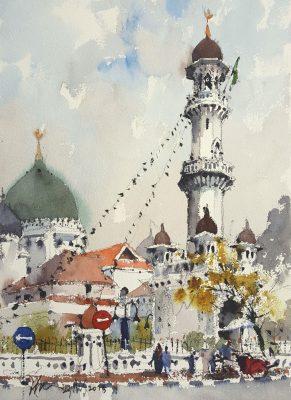 Kapitan Keling Mosque, 2018, Watercolor On Paper, 35x26cm