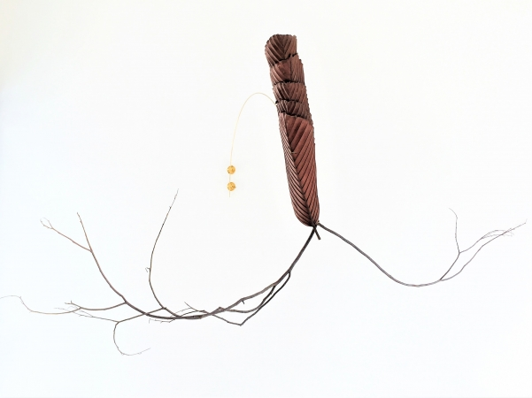 Lisa Foo, Leap, 2018, 138x52x8cm, Leaves, Twigs, Brass Wires (Installation View).