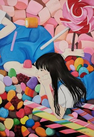 Ryuna Lee, Crush, 2018,  Acrylic on Canvas, 102.5x145cm, RM4,000.