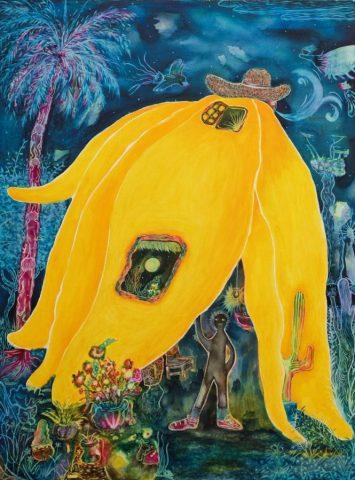 CCKua, Going Bananas I, 2020, Watercolour on canvas, 122x91 cm