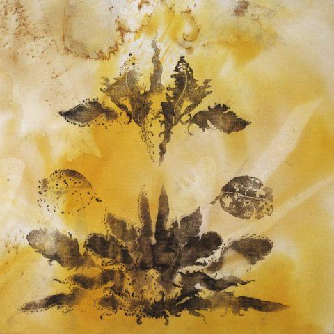Haafiz Shahimi, Bunga Gersang V, 2020, Pyrography print, inverted burn, direct petrol burn, rusted chemical wash, fabric dye and acrylic on jute, 92x92 cm